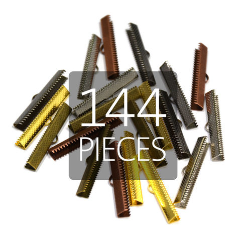 144pcs,40mm,(1,9/16),Ribbon,Clamp,End,Crimps,40mm ribbon clamps, 1 9 16 ribbon clamps, ribbon clamps, ribbon crimps, ribbon ends, ribbon findings, bulk ribbon clamps