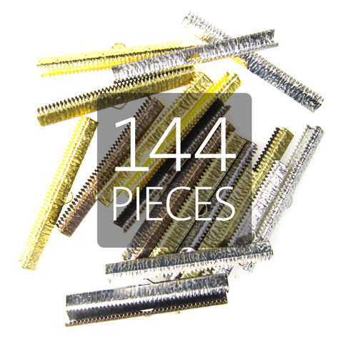 144pcs,50mm,(2),Ribbon,Clamp,End,Crimps,50mm ribbon clamps, 2 ribbon clamps, ribbon clamps, ribbon crimps, ribbon ends, ribbon findings, bulk ribbon clamps