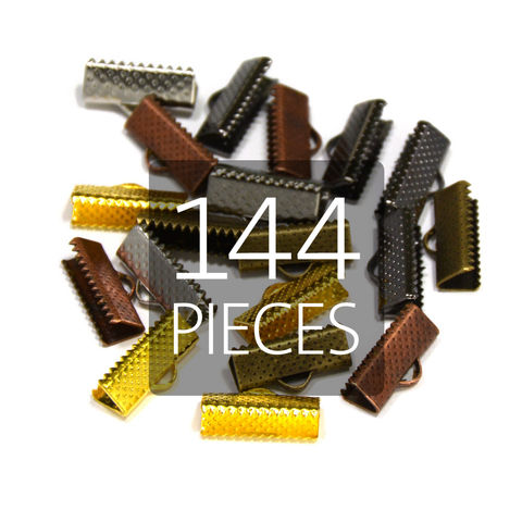 144pcs,16mm,(5/8),Ribbon,Clamp,End,Crimps,16mm ribbon clamps, 5 8 ribbon clamps, ribbon clamps, ribbon crimps, ribbon ends, ribbon findings, bulk ribbon clamps