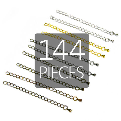 144pcs,80mm,(3),Extension,Chains,for,Making,Necklaces,and,Bracelets,extension chains, extender chains