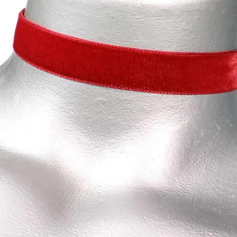 16mm,(5/8),Plain,Red,Velvet,Ribbon,Choker,Necklace,red velvet choker, red choker, red ribbon choker, ribbon choker, velvet choker, ribbon choker necklace