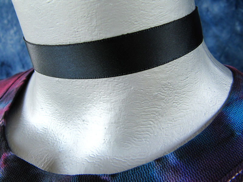 "16mm (5/8"") Plain Black Satin Ribbon Choker Necklace - product images  of"
