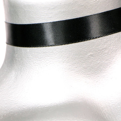 16mm,(5/8),Plain,Black,Satin,Ribbon,Choker,Necklace,black satin choker, black choker, black ribbon choker, ribbon choker, satin choker, ribbon choker necklace