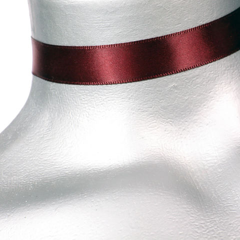 16mm,(5/8),Plain,Dark,Red,Satin,Ribbon,Choker,Necklace,red satin choker, red choker, red ribbon choker, ribbon choker, satin choker, ribbon choker necklace