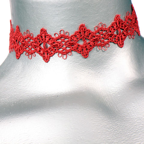 16mm,(5/8),Red,Diamond,Lace,Ribbon,Choker,Necklace,red lace choker, red choker, red ribbon choker, ribbon choker, lace choker, ribbon choker necklace