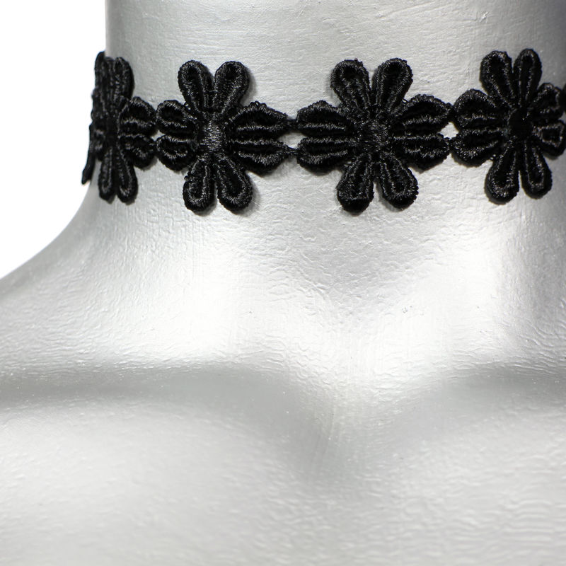 "16mm (5/8"") Black Daisy Flower Satiny Trim Ribbon Choker Necklace - product images  of"