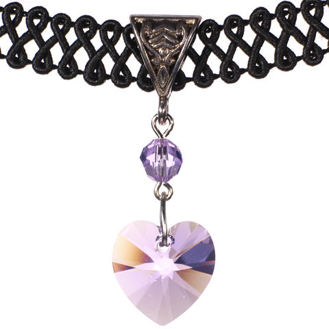 14mm,Lavender,Violet,Swarovski,Crystal,Heart,Swirl,Trim,Choker,Necklace,swarovski choker, swarovski crystal necklace, swarovski crystal jewelry, swarovski crystal heart necklace, black trim choker, black choker, black ribbon choker, ribbon choker, choker, ribbon choker necklace