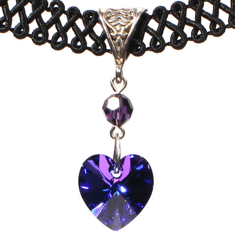14mm,Heliotrope,Purple,Swarovski,Crystal,Heart,Swirl,Trim,Choker,Necklace,swarovski choker, swarovski crystal necklace, swarovski crystal jewelry, swarovski crystal heart necklace, black trim choker, black choker, black ribbon choker, ribbon choker, choker, ribbon choker necklace