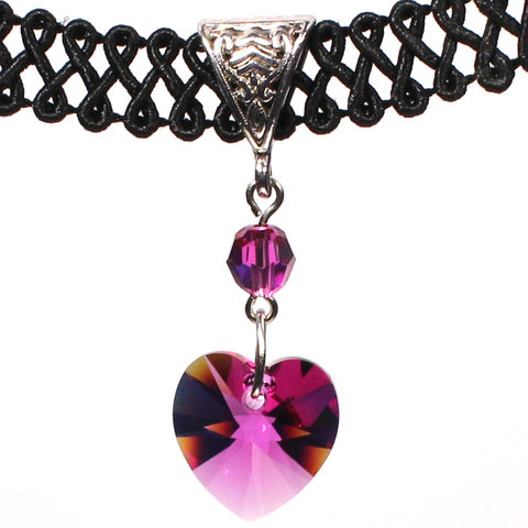14mm,Fuchsia,Pink,Swarovski,Crystal,Heart,Swirl,Trim,Choker,Necklace,swarovski choker, swarovski crystal necklace, swarovski crystal jewelry, swarovski crystal heart necklace, black trim choker, black choker, black ribbon choker, ribbon choker, choker, ribbon choker necklace