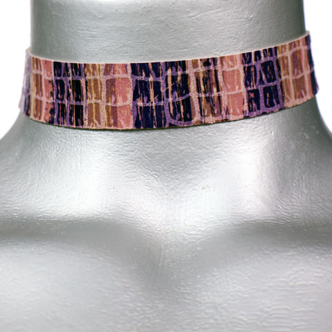 20mm,(3/4),Pink,and,Purple,Shiny,Stripe,Leather,Choker,Collar,Necklace,purple choker, purple leather choker, pink leather choker, pink choker, pink ribbon choker, ribbon choker, leather choker, ribbon choker necklace, checkerboard choker