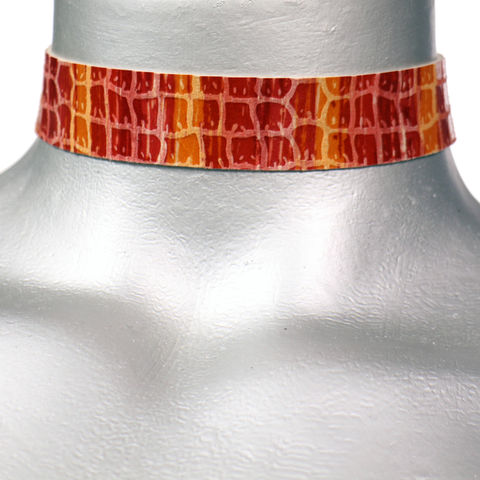 20mm,(3/4),Red,and,Orange,Shiny,Stripe,Leather,Choker,Collar,Necklace,orange choker, orange leather choker, pink leather choker, red choker, red ribbon choker, ribbon choker, leather choker, ribbon choker necklace, checkerboard choker