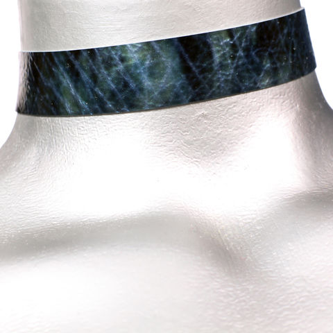 20mm,(3/4),Shiny,Blue,Storm,Leather,Choker,Collar,Necklace,blue leather choker, blue choker, blue ribbon choker, ribbon choker, leather choker, ribbon choker necklace, checkerboard choker