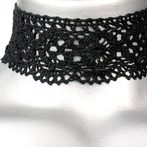 50mm,(2),Black,Scalloped,Cluny,Lace,Ribbon,Choker,Necklace,black lace choker, black choker, black ribbon choker, ribbon choker, lace choker, ribbon choker necklace