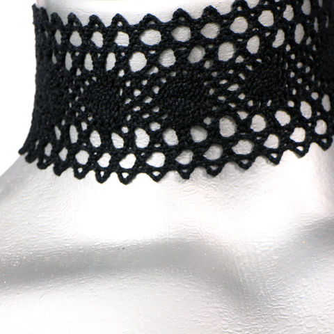 50mm,(2),Black,Oval,Cluny,Lace,Ribbon,Choker,Necklace,black lace choker, black choker, black ribbon choker, ribbon choker, lace choker, ribbon choker necklace