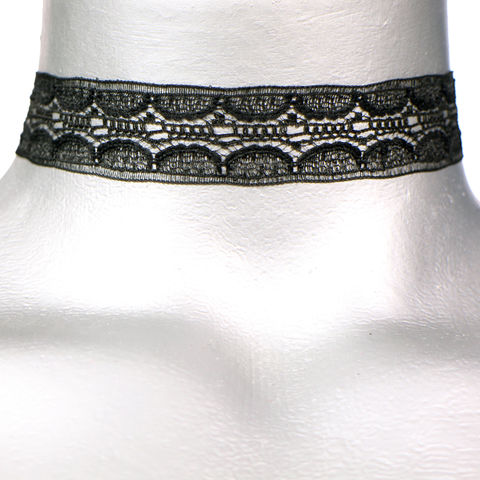 20mm,(3/4),Plain,Black,Internal,Scalloped,Lace,Ribbon,Choker,Necklace,black lace choker, black choker, black ribbon choker, ribbon choker, lace choker, ribbon choker necklace, checkerboard choker
