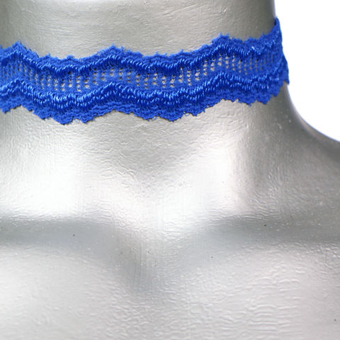 20mm,(3/4),Royal,Blue,ZigZag,Scalloped,Lace,Ribbon,Choker,Necklace,blue lace choker, blue choker, blue ribbon choker, ribbon choker, lace choker, ribbon choker necklace, checkerboard choker
