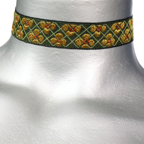 20mm,(3/4),Amber,Floral,Grid,Jacquard,Ribbon,Choker,Necklace,flower choker, floral choker, flower ribbon choker, ribbon choker, green choker, ribbon choker necklace, checkerboard choker