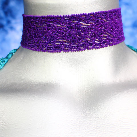 30mm,(1,3/16),Vibrant,Purple,Floral,Elastic,Lace,Ribbon,Choker,Necklace,elastic choker, stretchy necklace, purple lace choker, purple choker, purple ribbon choker, ribbon choker, lace choker, ribbon choker necklace