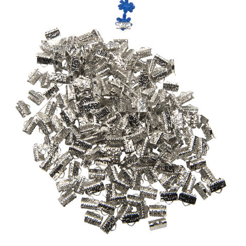 10mm,(3/8),-500pcs-,Platinum,Silver,Ribbon,Clamps,-,Artisan,Series,10mm ribbon clamps, 1/4 inch ribbon clamps, ribbon clamps, ribbon crimps, ribbon ends, ribbon findings, bulk ribbon clamps, crimps, crimp ends, 10mm