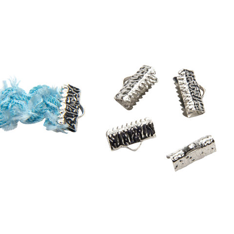 13mm,(1/2),-16pcs-,Platinum,Silver,Ribbon,Clamps,-,Artisan,Series,13mm ribbon clamps, 1/2 inch ribbon clamps, ribbon clamps, ribbon crimps, ribbon ends, ribbon findings, bulk ribbon clamps, crimps, crimp ends, 13mm