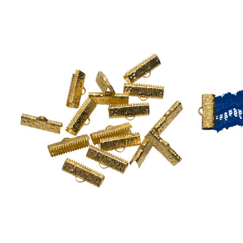 20mm,(3/4),-150pcs-,Gold,Ribbon,Clamps,-,Artisan,Series,20mm ribbon clamps, 3/4 inch ribbon clamps, ribbon clamps, ribbon crimps, ribbon ends, ribbon findings, bulk ribbon clamps, crimps, crimp ends, 20mm