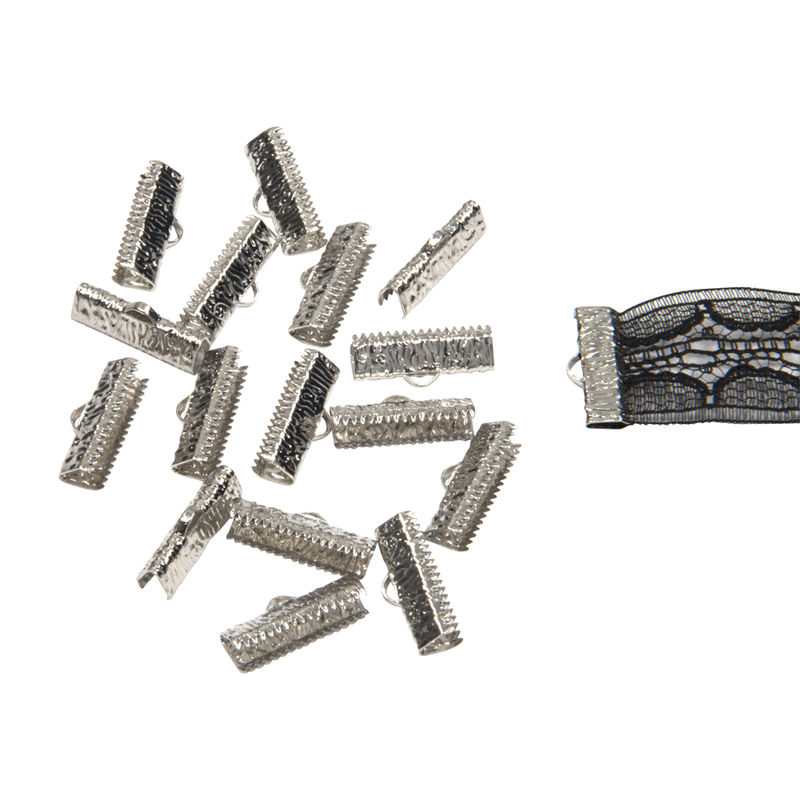 "20mm (3/4"") -500pcs- Platinum Silver Ribbon Clamps - Artisan Series - product images  of"