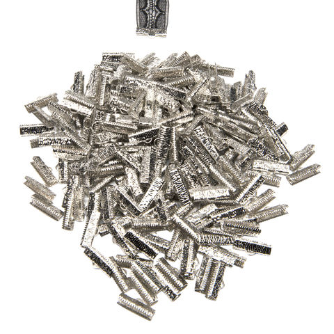 20mm,(3/4),-500pcs-,Platinum,Silver,Ribbon,Clamps,-,Artisan,Series,20mm ribbon clamps, 3/4 inch ribbon clamps, ribbon clamps, ribbon crimps, ribbon ends, ribbon findings, bulk ribbon clamps, crimps, crimp ends, 20mm