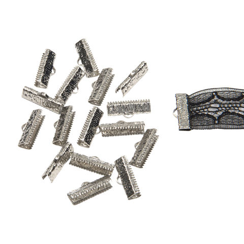 20mm,(3/4),-150pcs-,Platinum,Silver,Ribbon,Clamps,-,Artisan,Series,20mm ribbon clamps, 3/4 inch ribbon clamps, ribbon clamps, ribbon crimps, ribbon ends, ribbon findings, bulk ribbon clamps, crimps, crimp ends, 20mm