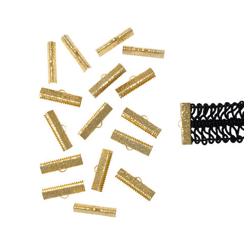25mm,(1),-150pcs-,Gold,Ribbon,Clamps,-,Artisan,Series,25mm ribbon clamps, 1 inch ribbon clamps, ribbon clamps, ribbon crimps, ribbon ends, ribbon findings, bulk ribbon clamps, crimps, crimp ends,