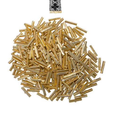 30mm,(1,3/16),-500pcs-,Gold,Ribbon,Clamps,-,Artisan,Series,30mm ribbon clamps, 1 3/16 inch ribbon clamps, ribbon clamps, ribbon crimps, ribbon ends, ribbon findings, bulk ribbon clamps, crimps, crimp ends, 30mm