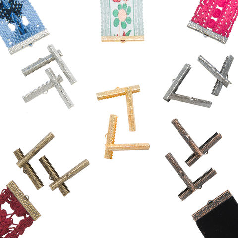 35mm,(1,3/8),Mixed,Finish,Ribbon,Clamps,-20pcs-,Artisan,Series,35mm ribbon clamps, 1 3/8 inch ribbon clamps, ribbon clamps, ribbon crimps, ribbon ends, ribbon findings, bulk ribbon clamps, crimps, crimp ends, assorted clamp pack, mixed finish, jewelry making supplies