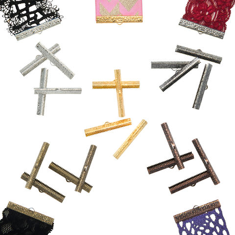 40mm,(1,9/16),Mixed,Finish,Ribbon,Clamps,-20pcs-,Artisan,Series,40mm ribbon clamps, 1 9/16 inch ribbon clamps, ribbon clamps, ribbon crimps, ribbon ends, ribbon findings, bulk ribbon clamps, crimps, crimp ends, assorted clamp pack, mixed finish, jewelry making supplies