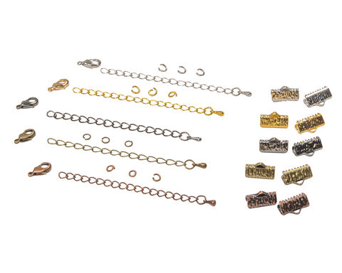 13mm,(1/2),Ribbon,Choker,Necklace,or,Bracelet,Findings,Kit,-,Artisan,Series, 13mm choker kit, chains, ribbon clamps, jump rings, bracelet kit, jewelry kit, jewelry findings kit, gold, bronze, silver, copper, gunmetal, DIY jewelry, ribbon choker kit, ribbon bracelet kit, choker, bracelet, jewelry findings, womens