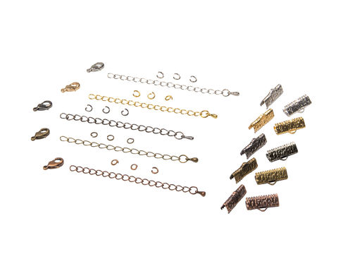16mm,(5/8),Ribbon,Choker,Necklace,or,Bracelet,Findings,Kit,-,Artisan,Series, 16mm choker kit, chains, ribbon clamps, jump rings, bracelet kit, jewelry kit, jewelry findings kit, gold, bronze, silver, copper, gunmetal, DIY jewelry, ribbon choker kit, ribbon bracelet kit, choker, bracelet, jewelry findings, womens