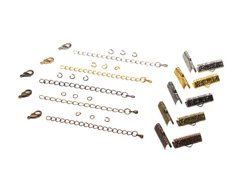 20mm,(3/4),Ribbon,Choker,Necklace,or,Bracelet,Findings,Kit,-,Artisan,Series, 20mm choker kit, chains, ribbon clamps, jump rings, choker kit, bracelet kit, jewelry kit, jewelry findings kit, gold, bronze, silver, copper, gunmetal, DIY jewelry, ribbon choker kit, ribbon bracelet kit, choker, bracelet, jewelry findings, womens