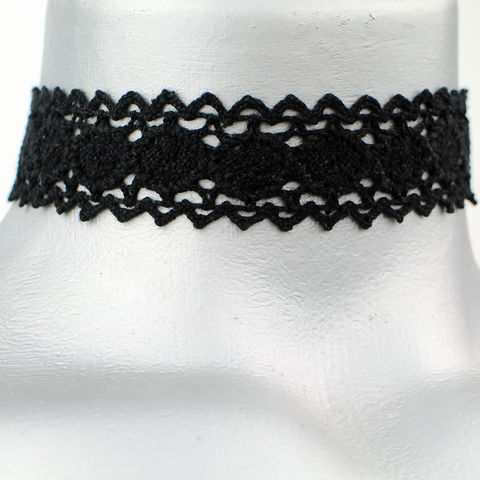 20mm,(3/4),Plain,Black,Scalloped,Cluny,Lace,Ribbon,Choker,Necklace,black lace choker, black choker, black ribbon choker, ribbon choker, lace choker, ribbon choker necklace, checkerboard choker