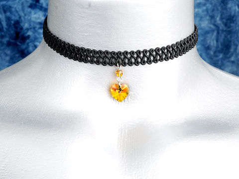 10mm,Golden,Orange,Topaz,Swarovski,Crystal,Heart,Swirl,Trim,Choker,Necklace,swarovski choker, swarovski crystal necklace, swarovski crystal jewelry, swarovski crystal heart necklace, black trim choker, black choker, black ribbon choker, ribbon choker, choker, ribbon choker necklace
