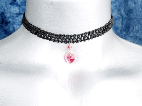 10mm,Pink,Rose,Swarovski,Crystal,Heart,Swirl,Trim,Choker,Necklace,swarovski choker, swarovski crystal necklace, swarovski crystal jewelry, swarovski crystal heart necklace, black trim choker, black choker, black ribbon choker, ribbon choker, choker, ribbon choker necklace