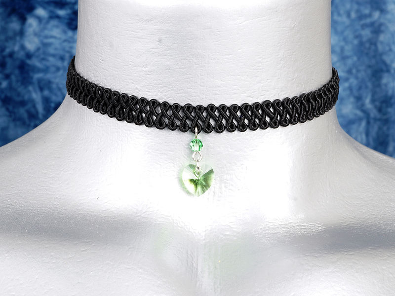 10mm Light Green Peridot Swarovski Crystal Heart Swirl Trim Choker Necklace - product images  of