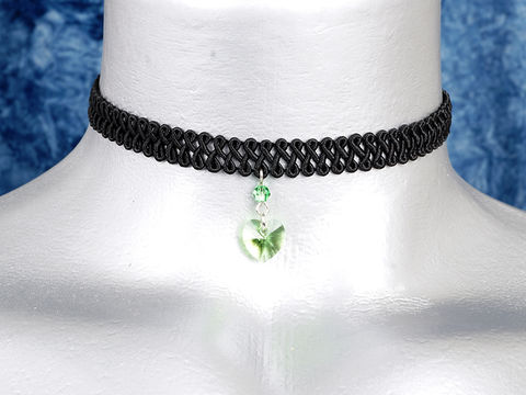 10mm,Light,Green,Peridot,Swarovski,Crystal,Heart,Swirl,Trim,Choker,Necklace,swarovski choker, swarovski crystal necklace, swarovski crystal jewelry, swarovski crystal heart necklace, black trim choker, black choker, black ribbon choker, ribbon choker, choker, ribbon choker necklace