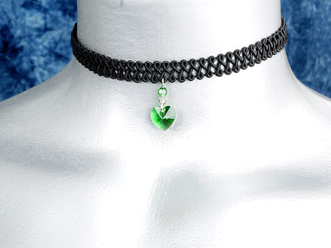 10mm,Moss,Green,Swarovski,Crystal,Heart,Swirl,Trim,Choker,Necklace,swarovski choker, swarovski crystal necklace, swarovski crystal jewelry, swarovski crystal heart necklace, black trim choker, black choker, black ribbon choker, ribbon choker, choker, ribbon choker necklace