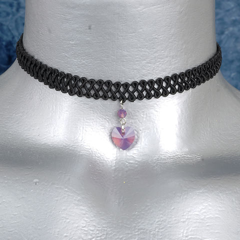 10mm,Lavender,Opal,Swarovski,Crystal,Heart,Swirl,Trim,Choker,Necklace,swarovski choker, swarovski crystal necklace, swarovski crystal jewelry, swarovski crystal heart necklace, black trim choker, black choker, black ribbon choker, ribbon choker, choker, ribbon choker necklace