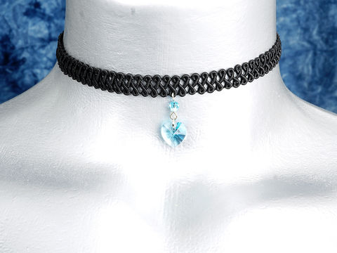 10mm,Aquamarine,Blue,Swarovski,Crystal,Heart,Swirl,Trim,Choker,Necklace,swarovski choker, swarovski crystal necklace, swarovski crystal jewelry, swarovski crystal heart necklace, black trim choker, black choker, black ribbon choker, ribbon choker, choker, ribbon choker necklace