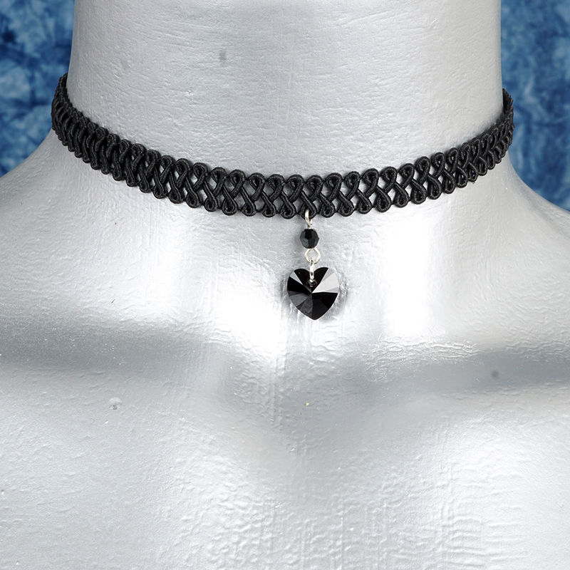 10mm Jet Black Swarovski Crystal Heart Swirl Trim Choker Necklace - product images  of