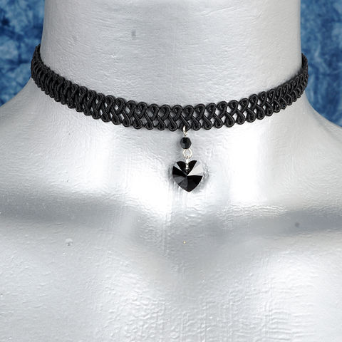 10mm,Jet,Black,Swarovski,Crystal,Heart,Swirl,Trim,Choker,Necklace,swarovski choker, swarovski crystal necklace, swarovski crystal jewelry, swarovski crystal heart necklace, black trim choker, black choker, black ribbon choker, ribbon choker, choker, ribbon choker necklace