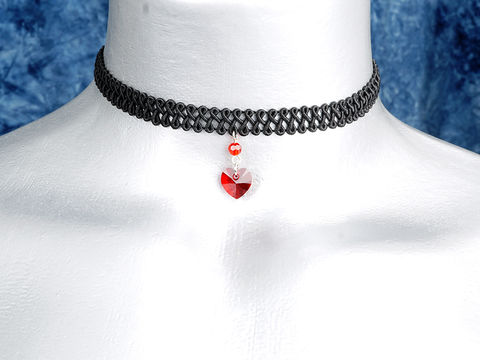 10mm,Siam,Red,Swarovski,Crystal,Heart,Swirl,Trim,Choker,Necklace,swarovski choker, swarovski crystal necklace, swarovski crystal jewelry, swarovski crystal heart necklace, black trim choker, black choker, black ribbon choker, ribbon choker, choker, ribbon choker necklace