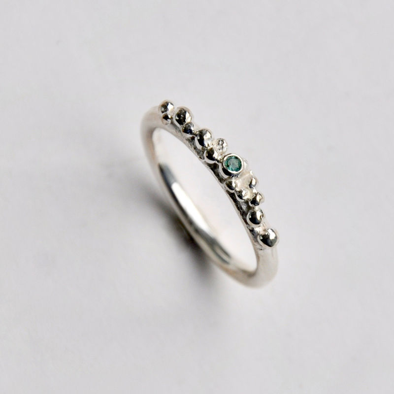 ORB stacking ring 1 - silver & green tourmaline - product images  of