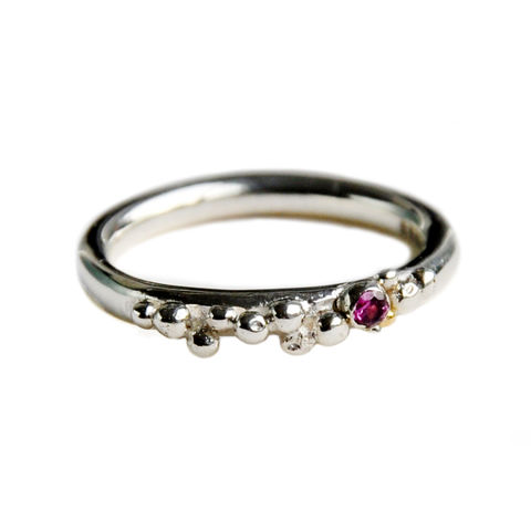 ORB,granulated,stacking,ring,-,silver,&,pink,tourmaline,Katerina Damilos, ORB, silver and tourmaline granulated stacking ring, contemporary rings, spheres, granulation, birthday jewellery, October birthstone, stacking ring