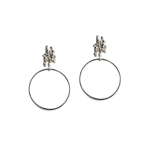 ORB,granulated,studs,with,hoops,silver,Katerina Damilos, hoops, hoop earrings, granulated, granulation, textured, summer jewellery
