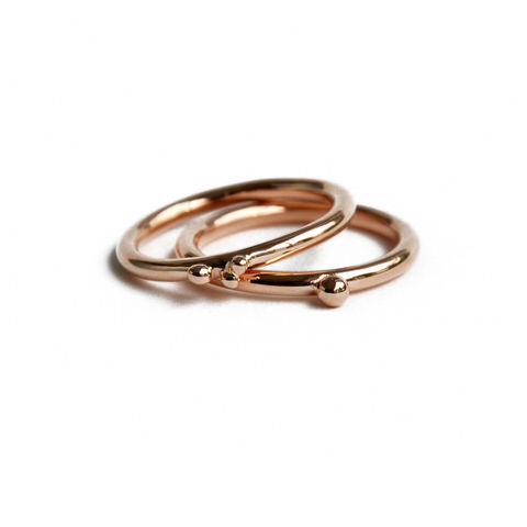 ORB,stacking,ring,9ct,rose,gold,Katerina Damilos, ORB, 9ct rose gold stacking rings, 9ct rose gold jewellery, contemporary rings, ring with spheres, granulation, granulated, birthday jewellery, jewellery online